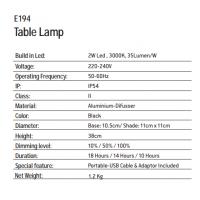 ΕΠΙΤΡΑΖΕΠΙΟ ΕΠΑΝΑΦΟΡΤΙΖΟΜΕΝΟ ΦΩΤΙΣΤΙΚΟ ΕΞΩΤΕΡΙΚΟΥ ΧΩΡΟΥ ΜΑΥΡΟ E194 | ZAMBELIS LIGHTS