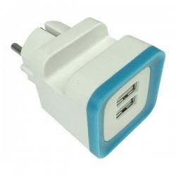 ΑΝΤΑΠΤΟΡΑΣ ΑΠΟ ΣΟΥΚΟ ΣΕ 2 USB 5V DC 2,4A ΜΠΛΕ - EUROLAMP