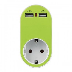 ΑΝΤΑΠΤΟΡΑΣ ΣΟΥΚΟ ΜΕ 2 USB ΠΡΑΣΙΝΟ, ΜΕ ΠΡΟΣΤΑΣΙΑ ΥΠΕΡΤΑΣΗΣ & ΠΑΙΔΙΚΗ ΠΡΟΣΤΑΣΙΑ - EUROLAMP