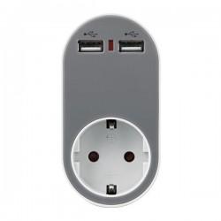 ΑΝΤΑΠΤΟΡΑΣ ΣΟΥΚΟ ΜΕ 2 USB ΓΚΡΙ, ΜΕ ΠΡΟΣΤΑΣΙΑ ΥΠΕΡΤΑΣΗΣ & ΠΑΙΔΙΚΗ ΠΡΟΣΤΑΣΙΑ - EUROLAMP
